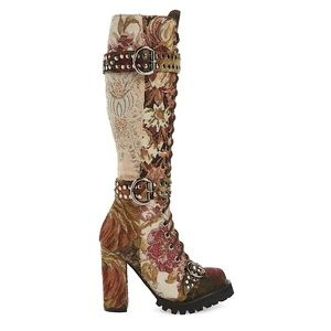 Jefferey Campbell Lilith Tall Boot Beige-Floral 7